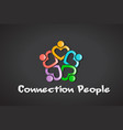connection heart people logo vector image vector image