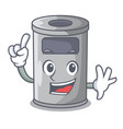 finger cartoon steel trash can in the office vector image