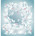 Frame or Background with flowers pearls petals rib vector image vector image