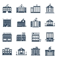 Government Building Black Icons Set vector image