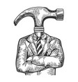 hammer head businessman sketch engraving vector image vector image