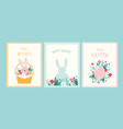 happy easter greeting cards or posters with bunny vector image vector image