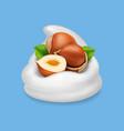 hazelnuts in yogurt 3d realistic vector image vector image