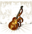 jazz guitar with a treble clef and shadow on vector image vector image