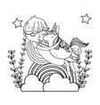 line girl hugging unicorn with rainbow and vector image vector image
