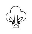 line kawaii cute angry broccoli vegetable vector image vector image