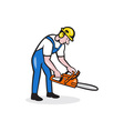 Lumberjack Arborist Operating Chainsaw Cartoon vector image vector image