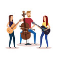 man playing cello and girls playing guitars vector image vector image