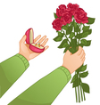 Man with ring and flowers vector image vector image