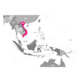 map of vietnam pink highlighted in vector image vector image