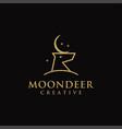 minimalist moon and deer head logo icon template vector image