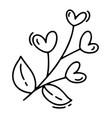 monoline cute branch with hearts vector image vector image