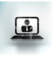 office work icon icon laptop isolated human vector image vector image