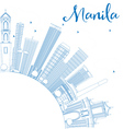 Outline Manila Skyline with Blue Buildings vector image vector image