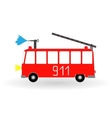 painted cartoon fire engine red with ladder vector image