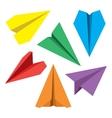 Paper Plane Flat Symbols Set Paper Origami vector image