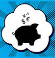 piggy bank sign with the currencies black vector image vector image