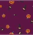 pumpkin witch hat halloween pattern seamless color vector image