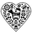 scandinavian heart shape folk art pattern vector image vector image