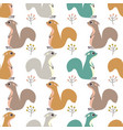 Seamless pattern with squirrel and berries
