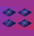 set isometric line clipboard with checklist vector image vector image