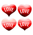 set of four red hearts on a white background vector image