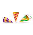 set of isolated party hat or cone birthday hat vector image vector image