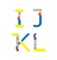 set with abc letters i j k and l in vector image vector image