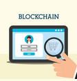 tablet virtual wallet search shopping blockchain vector image