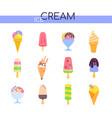 types ice cream - set flat design vector image