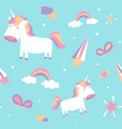 unicorn pattern cute seamless design with baby vector image vector image