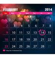 Valentine Day Calendar 2014 vector image