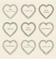 valentine s day vintage frames on background vector image vector image