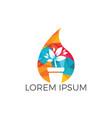 water drop and flower pot logo vector image