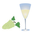 wineglass with wine and a bunch of grapes vector image vector image