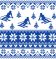 Winter knit pattern - man skiing - blue pattern vector image vector image