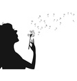 woman blowing dandelion vector image vector image