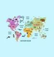 world map animal flat design vector image