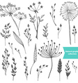 Beautiful color grass silhouette collection vector image