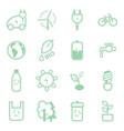 eco concept green thin line icon set vector image