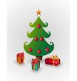 Merry Christmas pine tree greeting card vector image