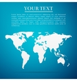 World map flat icon on blue background vector image