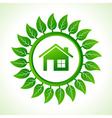 Eco home inside the leaf background vector image