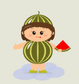 baby in a watermelon suit vector image vector image
