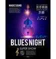 blues night music concert toster template with vector image