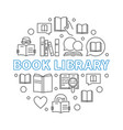 book library concept round outline vector image
