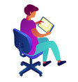 businessman holding tablet and sitting on chair vector image vector image