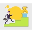 Businessman with suitcase climbing the stairs of vector image vector image
