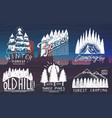 camping badges mountains coniferous forest vector image