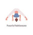 cartoon female in prasarita padottanasana position vector image vector image